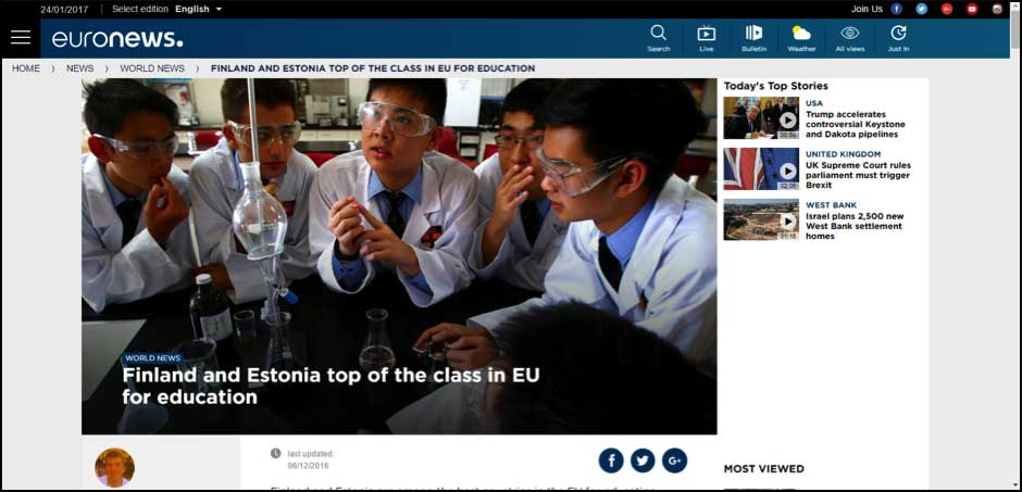 Finland and Estonia top of the class in Eu for education