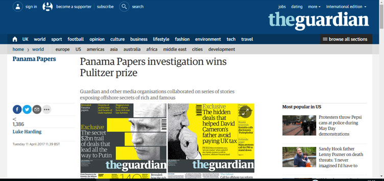 Panama Papers investigation wins Pulitzer prize
