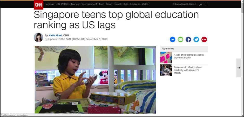 Singapore teens top global education ranking as US lags
