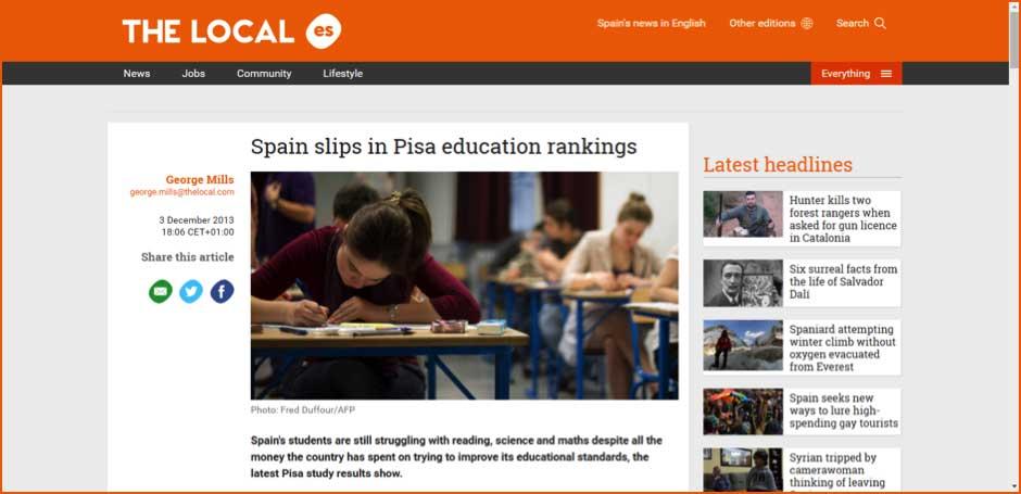 Spain slips in Pisa education rankings