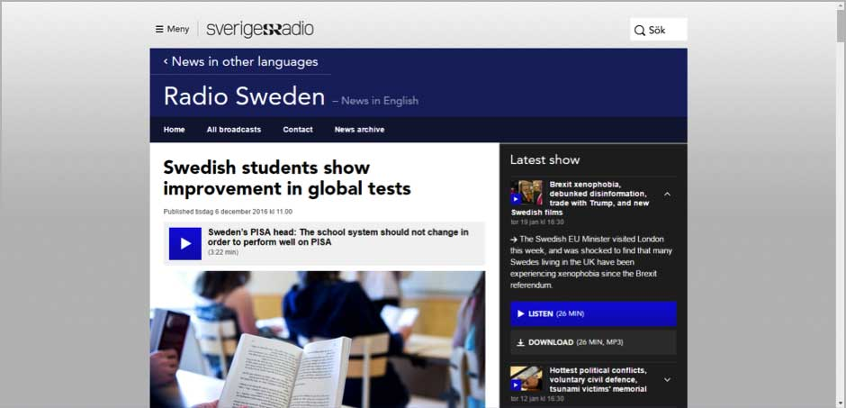 Swedish students show improvement in global tests