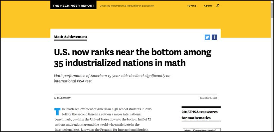 US now ranks near the bottom among 35 industrialized nations in math