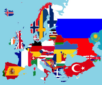 European map with flags
